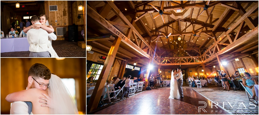 Mildale Farm Summer Wedding | Three candid images of a bride and groom sharing their first dance during their summer wedding reception at Mildale Farm.