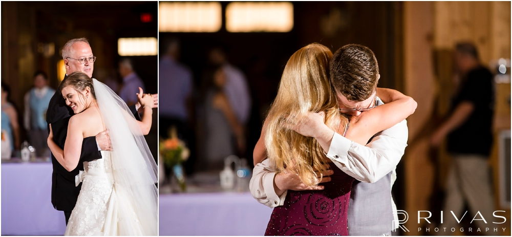 Mildale Farm Summer Wedding | Two pictures of a bride and groom sharing dances with their father and mother during their summer wedding reception at Mildale Farm.