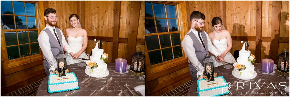 Mildale Farm Summer Wedding |Two candid pictures of a bride and groom cutting their wedding cake during their summer wedding reception at Mildale Farm.