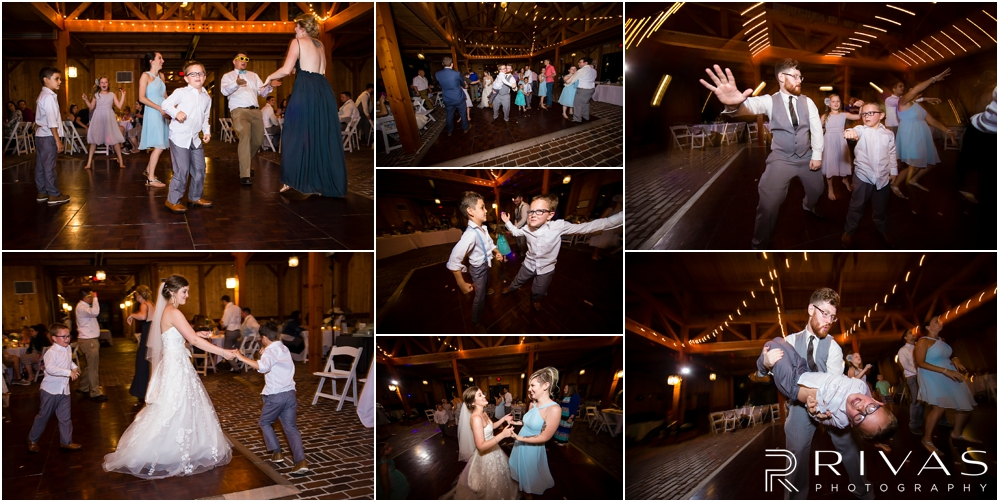 Mildale Farm Summer Wedding |A collage of candid photos of wedding guests dancing and celebrating during a summer wedding reception at Mildale Farm.