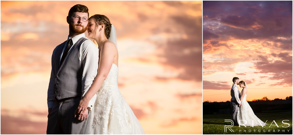 Mildale Farm Summer Wedding | Two pictures of a bride and groom at sunset after their summer wedding at Mildale Farm.