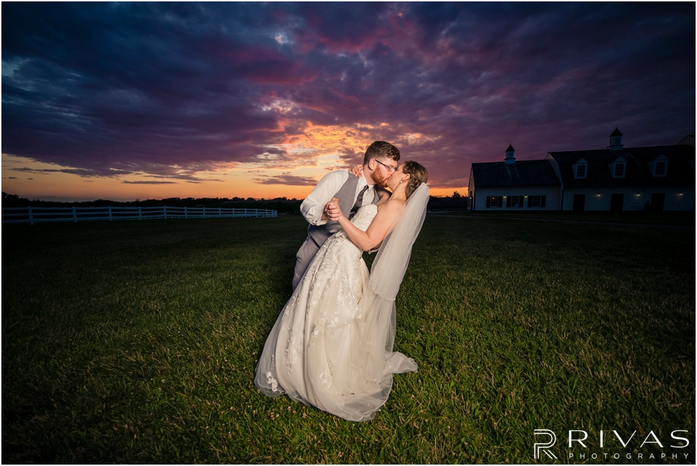 Mildale Farm Summer Wedding | An intimate portrait of a bride and groom embracing at sunset after their summer wedding at Mildale Farm.