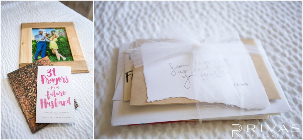 Staley Farms Golf Club Summer Wedding | Two snapshots of a bride's gift from her husband and family on her wedding day.