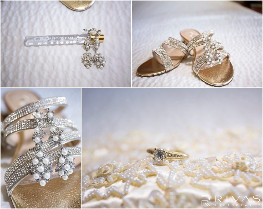 Staley Farms Golf Club Summer Wedding | Four close-up photos of a bride's perfume, earrings, shoes, clutch, and wedding band that will be worn on her wedding day.