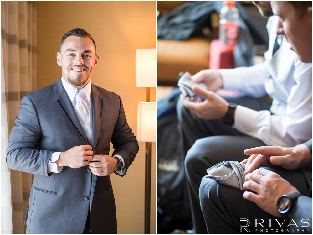 Staley Farms Golf Club Summer Wedding | Two candid photos of a groom getting ready for his wedding day with his groomsmen.