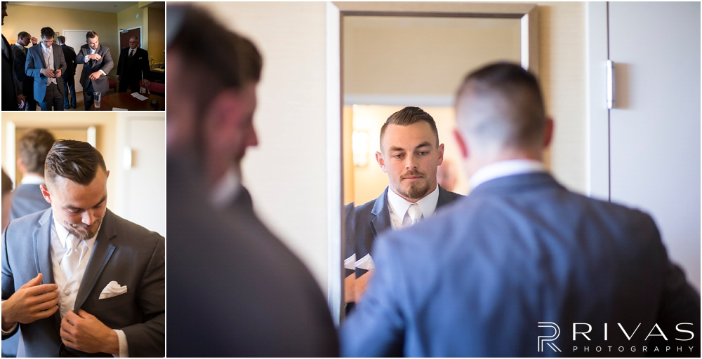 Staley Farms Golf Club Summer Wedding | Three candid images of a groom putting on his finishing touches before his wedding.