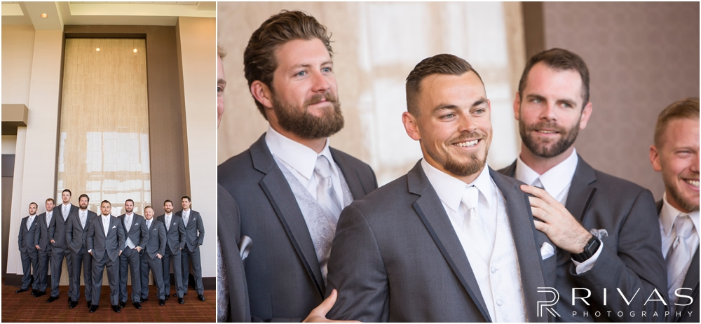 Staley Farms Golf Club Summer Wedding | Two candid images of a groom with his groomsmen on his wedding day.