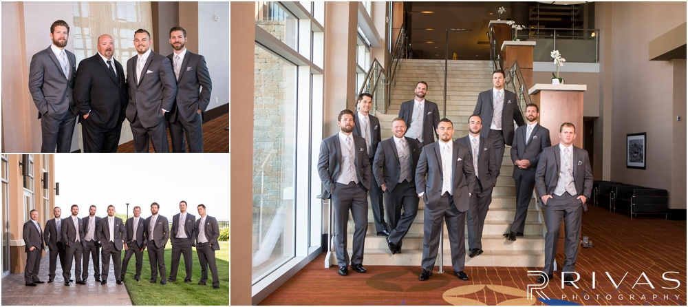 Staley Farms Golf Club Summer Wedding | Three candid images of a groom with his groomsmen on his wedding day.