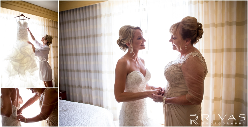 Staley Farms Golf Club Summer Wedding | Three pictures of a bride's mother helping her into her wedding gown on her wedding day.