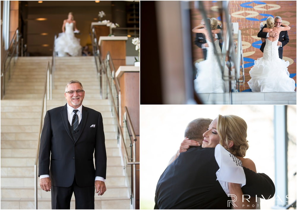 Staley Farms Golf Club Summer Wedding | Three candid photos of a bride seeing her father for the first time on her wedding day.