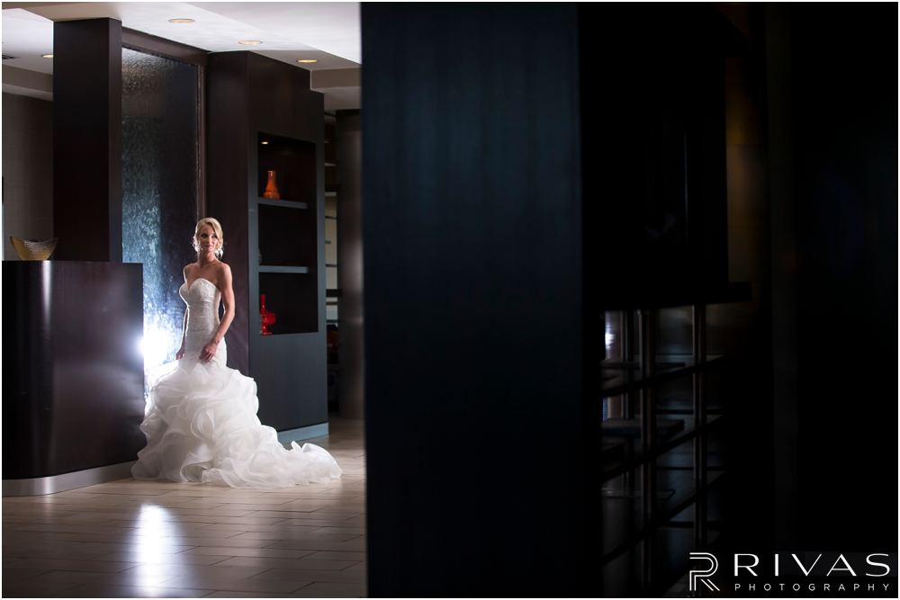 Staley Farms Golf Club Summer Wedding | A dramatic picture of a bride on her wedding day just before her wedding ceremony.