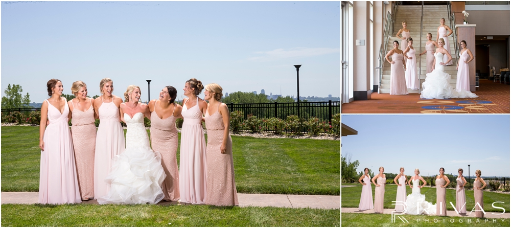 Staley Farms Golf Club Summer Wedding | Two candid pictures of a bride with her bridesmaids before her wedding ceremony.