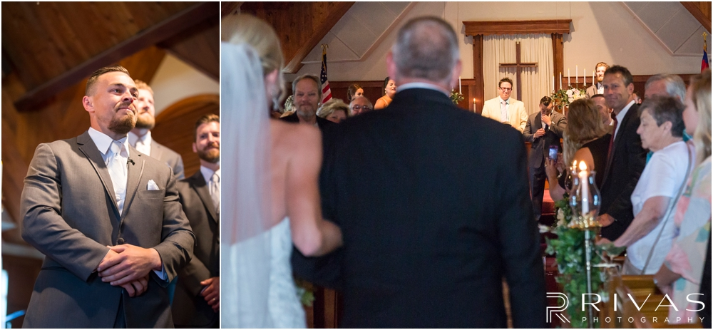 Staley Farms Golf Club Summer Wedding | Two candid pictures of a groom watching his bride walk down the aisle during their wedding ceremony.