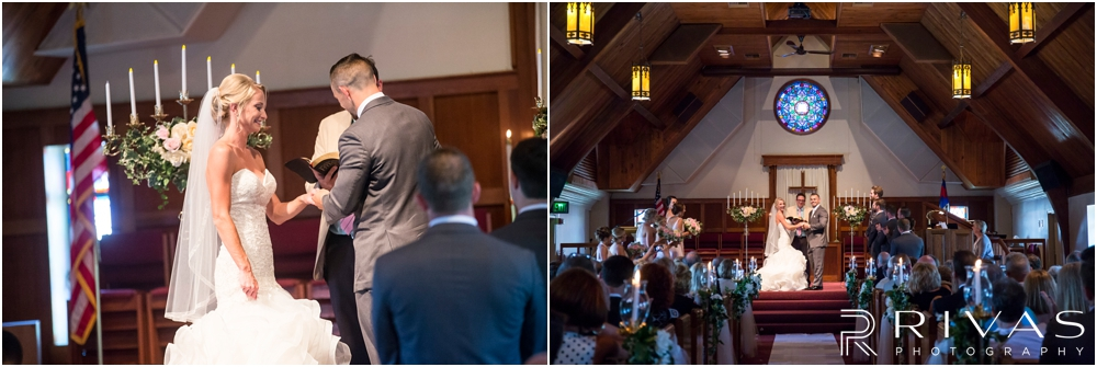Staley Farms Golf Club Summer Wedding | Three candid pictures of a bride and groom exchanging vows and rings during their wedding ceremony at Gashland Presbyterian Church.
