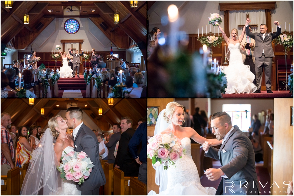 Staley Farms Golf Club Summer Wedding | Four candid images of a bride and groom celebrating their marriage after their wedding ceremony at Gashland Presbyterian Church.