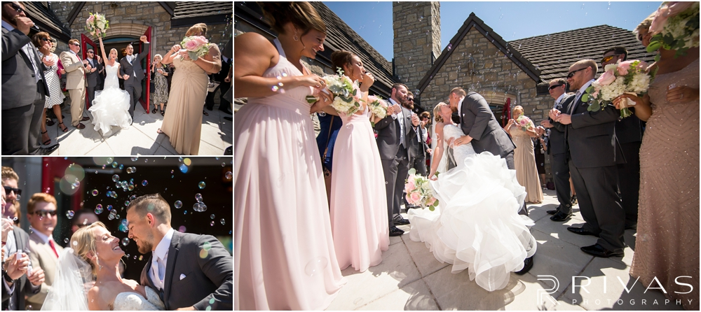 Staley Farms Golf Club Summer Wedding | Three candid pictures of a bride and groom leaving the church after their wedding ceremony to family and friends blowing bubbles.