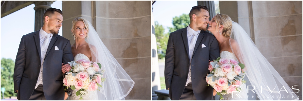 Staley Farms Golf Club Summer Wedding | Two candid photos of a bride and groom embracing after their wedding ceremony at The Colonnade in northeast Kansas City.