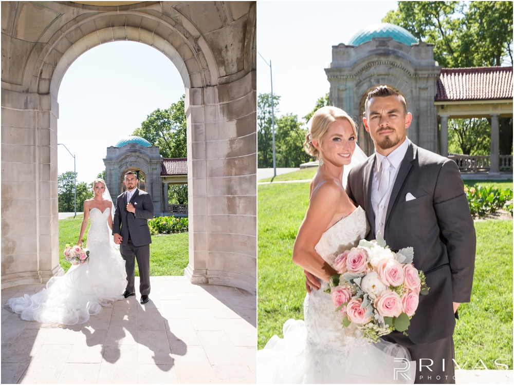 Staley Farms Golf Club Summer Wedding | Two portraits of a bride and groom holding hands and smiling at the camera after their wedding ceremony at The Colonnade in northeast Kansas City.