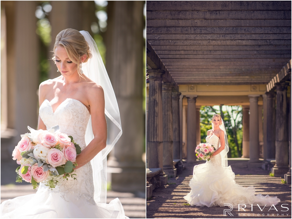 Staley Farms Golf Club Summer Wedding | Two pictures of a bride holding her bouquet after her wedding ceremony at The Colonnade in northeast Kansas City.