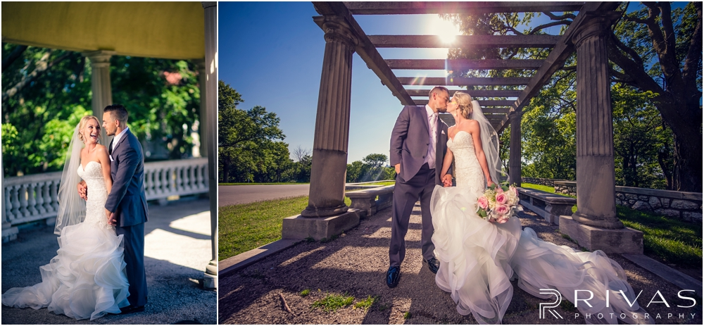 Staley Farms Golf Club Summer Wedding | Two pictures of a bride and groom embracing and laughing after their wedding ceremony in Kansas City.