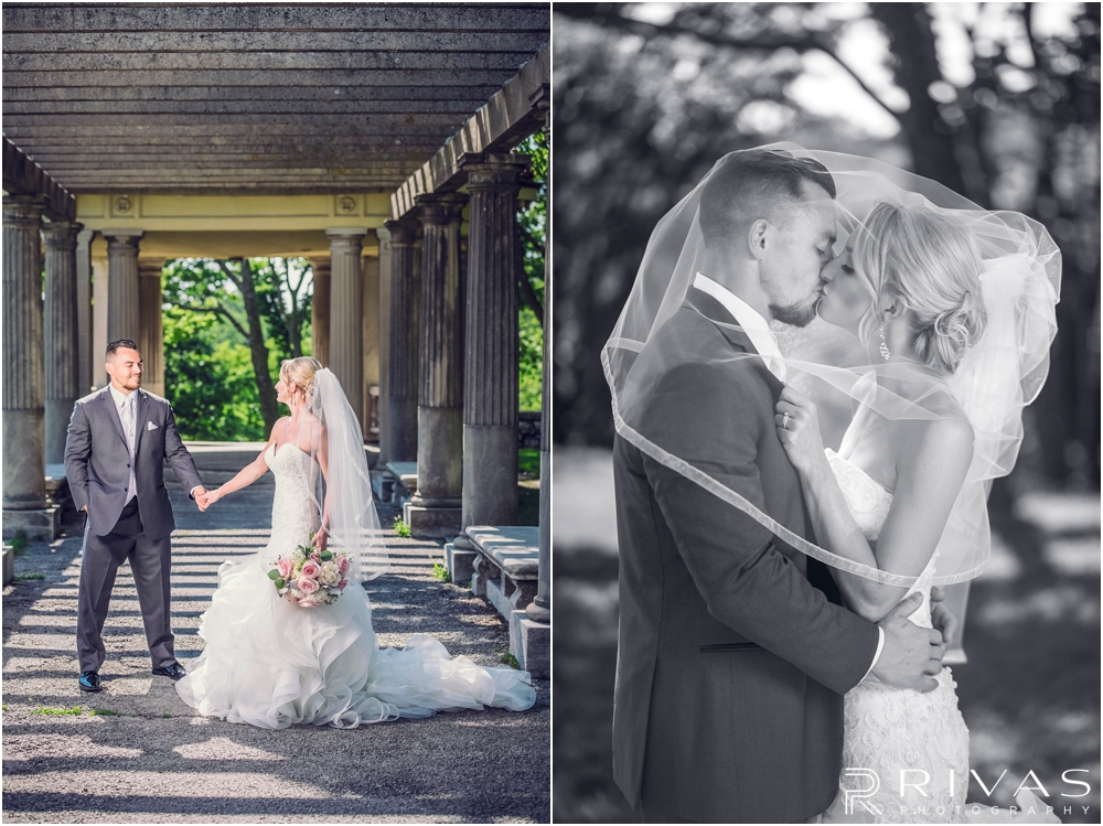 Staley Farms Golf Club Summer Wedding | Two black and white images of a bride and groom laughing together and kissing after their wedding in Kansas City.