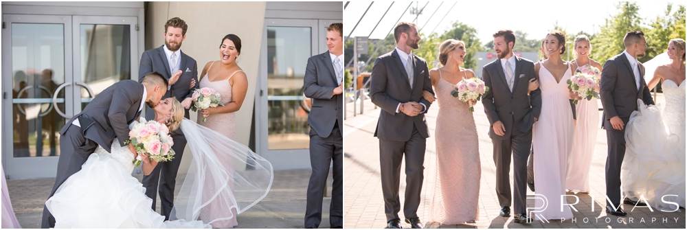 Staley Farms Golf Club Summer Wedding | Two candid pictures of a bride and groom with their wedding party at the Kauffman Center for the Performing Arts  after their wedding in Kansas City.
