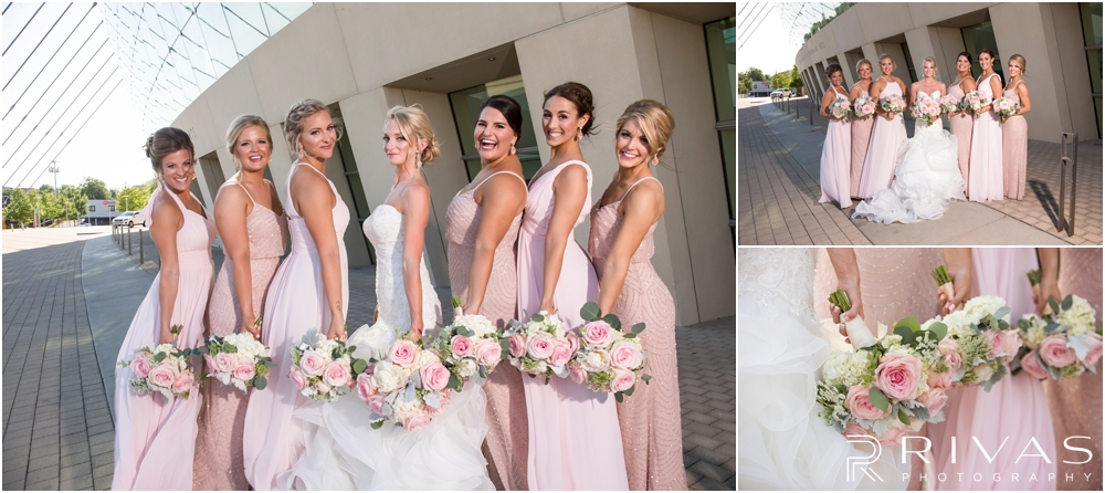 Staley Farms Golf Club Summer Wedding | Three candid images of a bride and her bridesmaids at the Kauffman Center for the Performing Arts  after their wedding in Kansas City.