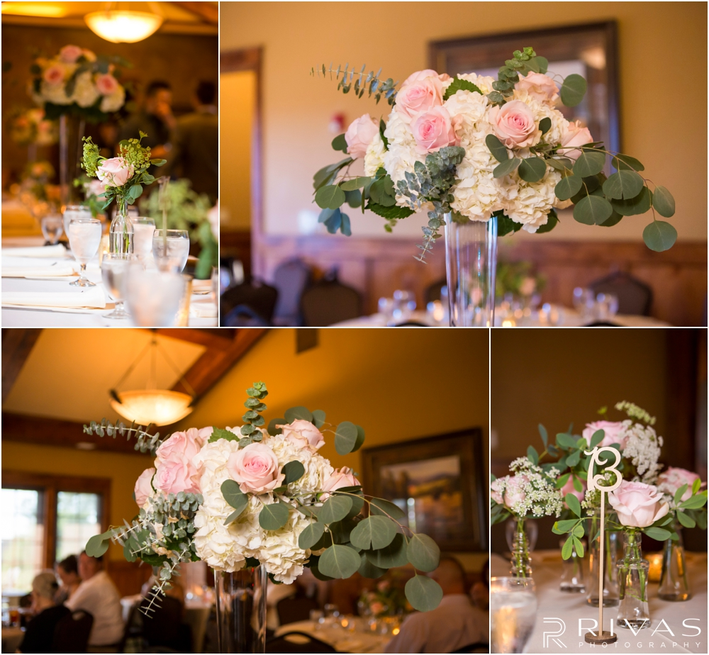 Staley Farms Golf Club Summer Wedding | Four close-up pictures of the centerpieces at a wedding reception held at Staley Farms Golf Club in Kansas City.