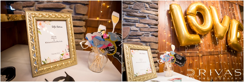 Staley Farms Golf Club Summer Wedding | Two snapshots of a selfie station set-up at a wedding reception held at Staley Farms Golf Club in Kansas City.
