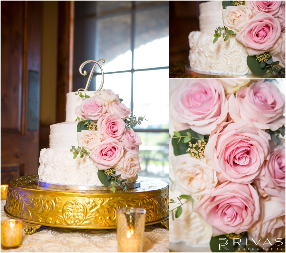 Staley Farms Golf Club Summer Wedding | Three pictures of a three tier white buttercream cake on a gold cake stand decorated with pink roses at a wedding reception held at Staley Farms Golf Club in Kansas City.