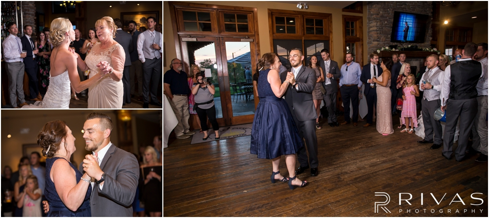 Staley Farms Golf Club Summer Wedding | Three candid images of a bride and groom dancing with their moms during their wedding reception held at Staley Farms Golf Club in Kansas City.