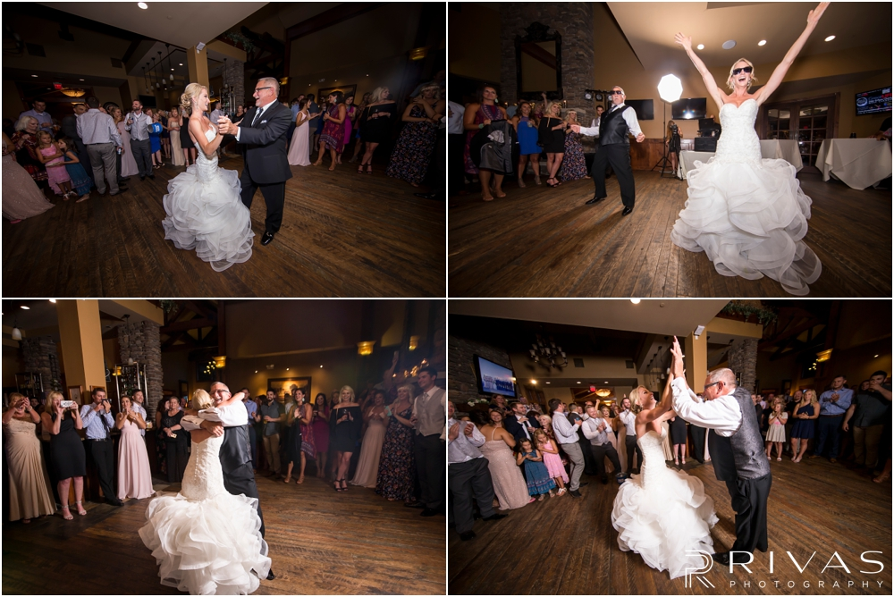 Staley Farms Golf Club Summer Wedding | Four candid pictures of a bride doing a choreographed dance with her dad during her wedding reception held at Staley Farms Golf Club in Kansas City.