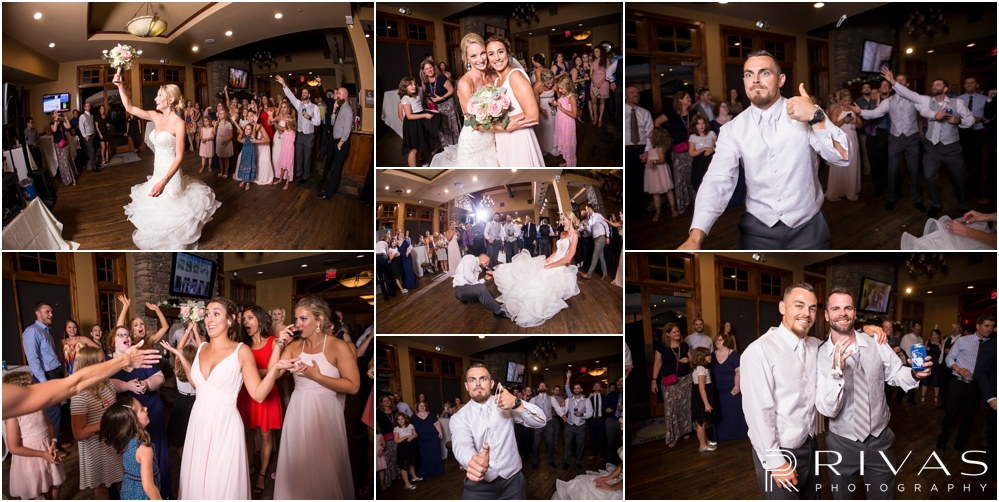 Staley Farms Golf Club Summer Wedding | A collage of candid photos of a bride throwing her bouquet and a groom tossing a garter during their wedding reception held at Staley Farms Golf Club in Kansas City.