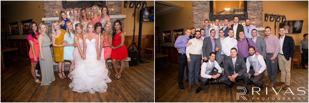 Staley Farms Golf Club Summer Wedding | Two group pictures of a bride and groom with their friends during their wedding reception held at Staley Farms Golf Club in Kansas City.