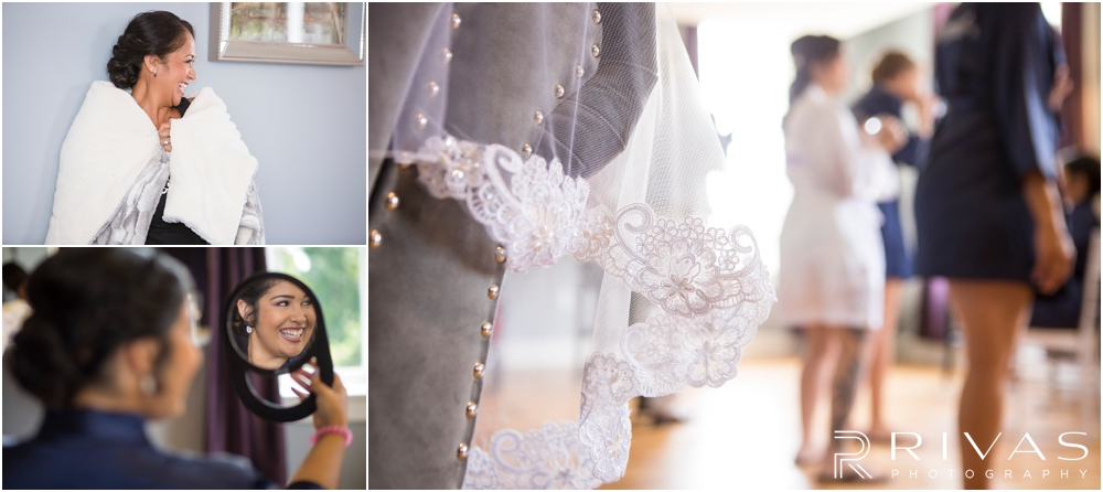 Belvoir Winery Romantic Summer Wedding | Three candid images of a bride and her family getting dressed on her wedding day at Belvoir Winery in Liberty, MO.