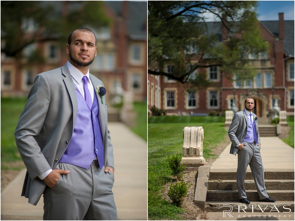 Belvoir Winery Romantic Summer Wedding | Two portraits of a groom in his gray tuxedo on his wedding day at Belvoir Winery in Liberty, MO.