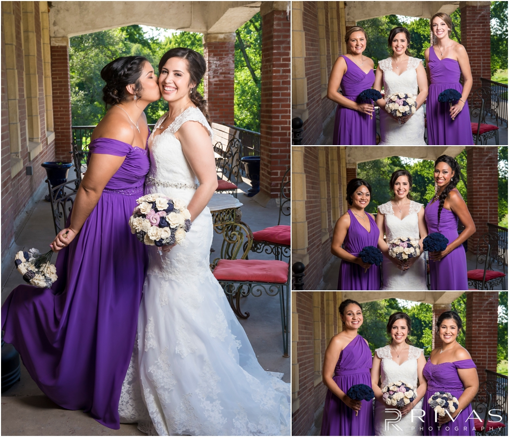 Belvoir Winery Romantic Summer Wedding | Four candid photos of a bride and her bridesmaids in purple gowns on her wedding day at Belvoir Winery in Liberty, MO.