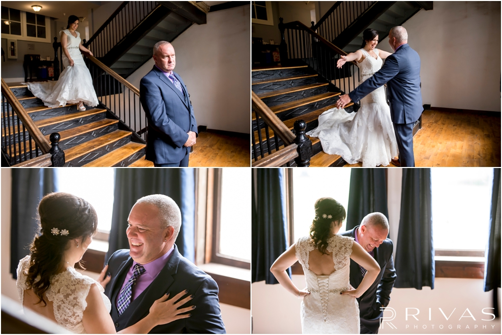 Belvoir Winery Romantic Summer Wedding | Four candid photos of a bride and her dad sharing a special first look on her wedding day at Belvoir Winery in Liberty, MO.