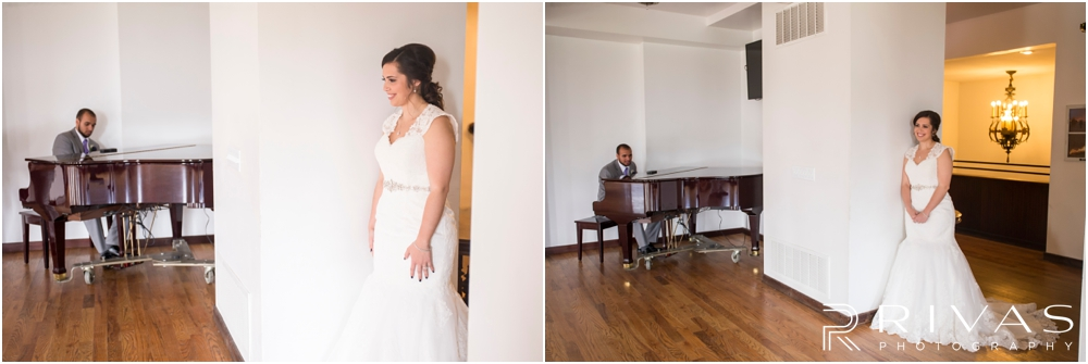 Belvoir Winery Romantic Summer Wedding | Two candid photos of a groom serenading his bride with her favorite song on their wedding day at Belvoir Winery in Liberty, MO.