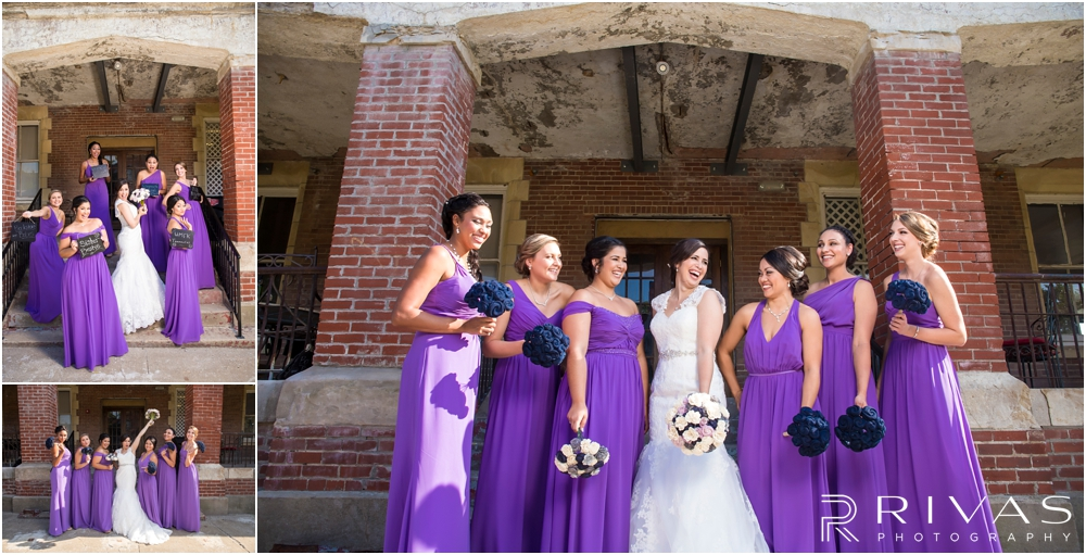 Belvoir Winery Romantic Summer Wedding | Three candid images of a bride and her bridesmaids in purple gowns on her wedding day at Belvoir Winery in Liberty, MO.