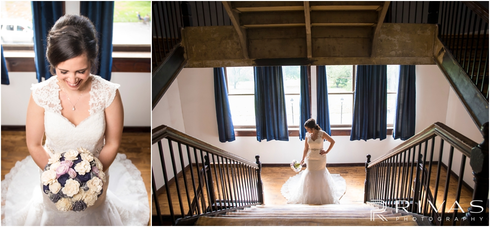 Belvoir Winery Romantic Summer Wedding | Two posed images of a bride in her wedding gown on her wedding day at Belvoir Winery in Liberty, MO.