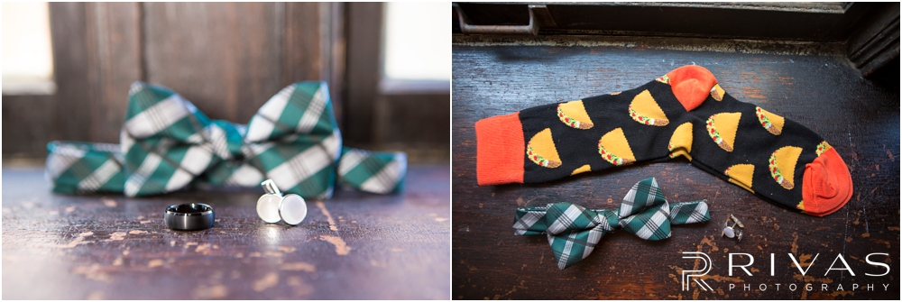 Classic Summer Wedding at Berg Event Space | Two close-up photos of a groom's wedding day details including cufflinks, onyx wedding band, hunger green bow-tie and taco socks.