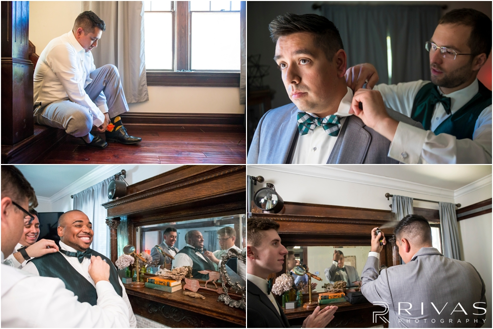 Classic Summer Wedding at Berg Event Space | Four candid pictures of a groom and his groomsmen getting dressed on his wedding day.
