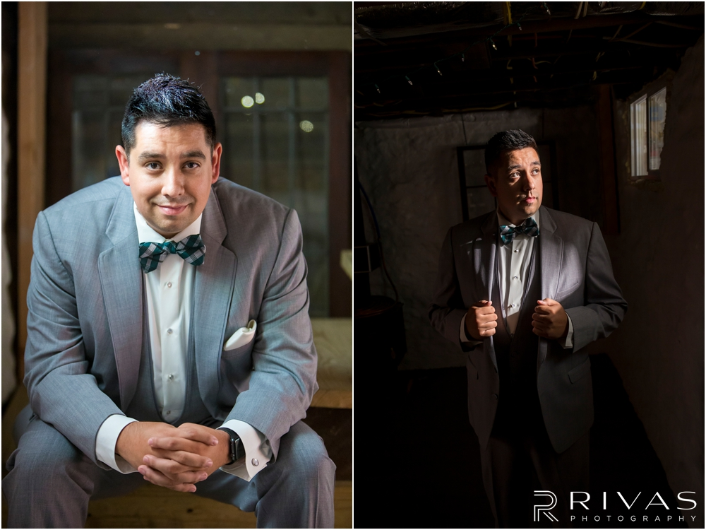 Classic Summer Wedding at Berg Event Space | Two formal portraits of a groom on his wedding day in his gray tuxedo.