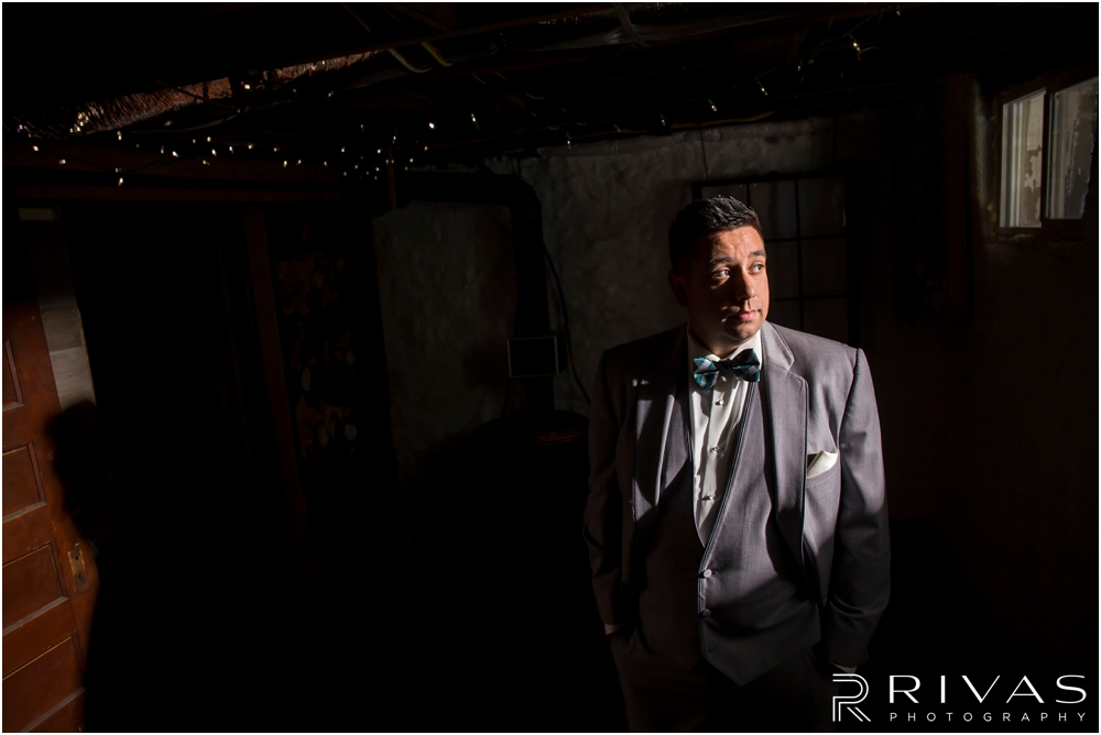 Classic Summer Wedding at Berg Event Space | A formal portrait of a groom in his gray tuxedo on his wedding day.
