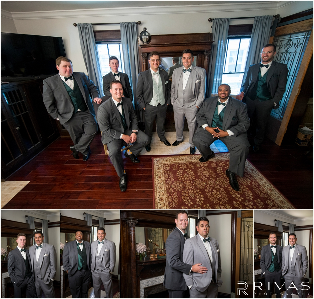 Classic Summer Wedding at Berg Event Space | A group picture go a groom and his groomsmen all in gray tuxedos before his July wedding in Kansas City.