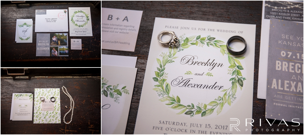 Classic Summer Wedding at Berg Event Space | Three styled photos of a bride and grooms wedding invitation suite, save the date, and wedding day jewelry.