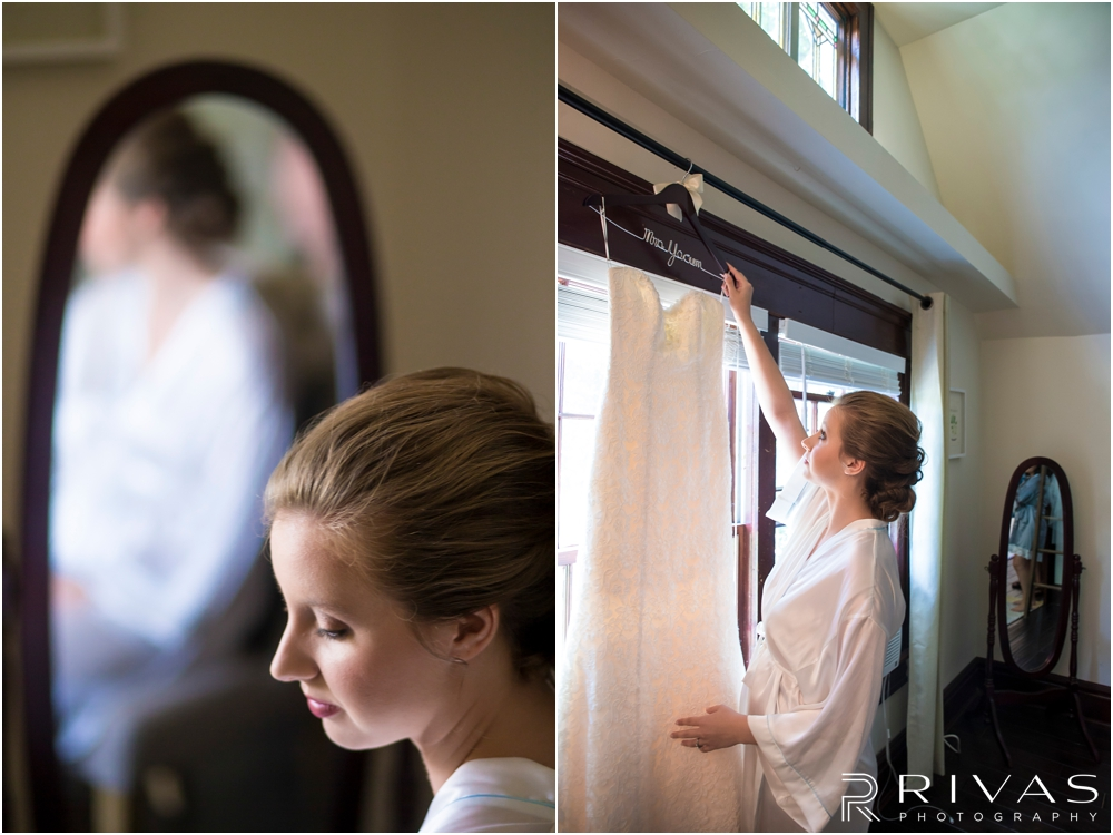 Classic Summer Wedding at Berg Event Space | Two images of a bride on her wedding day: one reaching for her wedding gown and another of her reflection in a mirror.