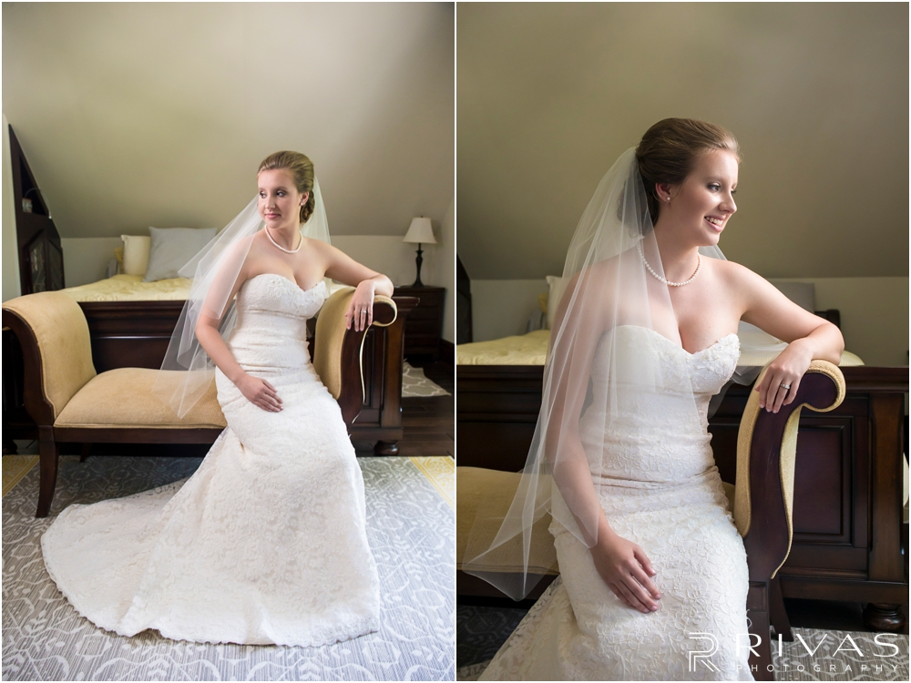 Classic Summer Wedding at Berg Event Space | Two portraits of a bride in her wedding gown and veil on the morning of her wedding.