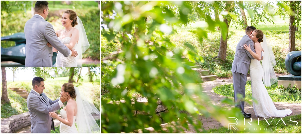 Classic Summer Wedding at Berg Event Space | Three candid photos of a bride and groom sharing a first look on their wedding day in the gardens at The Nelson Atkins Museum of Art in Kansas City.